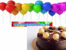 10 gas filled balloons with 1 kg cake
