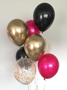 10 Gas balloons in confetti Black dark Pink and golden tied with ribbons