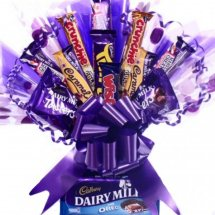 30 mix cadbury chocolates in a bouquet with blue wrapping