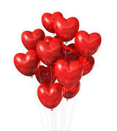 20 inflated heart shaped balloons