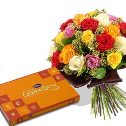 Cadburys celebration box with 15 Mix roses bouquet