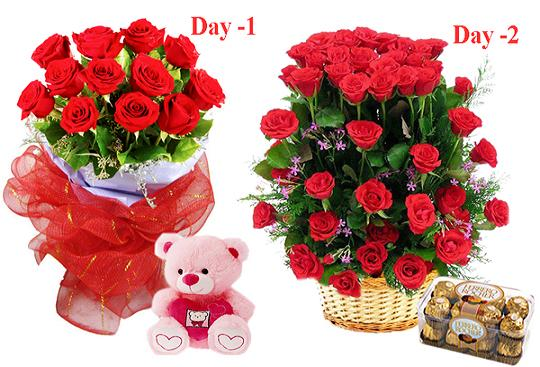 Day 1 Dozen Red Roses bouquet with Teddy Day 2 24 red roses basket with 16 Ferrero chocolate box