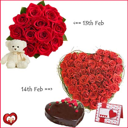 Day 1 Dozen Red Roses bouquet with Teddy Day 2 24 red roses Heart with 1 Kg chocolate heart cake