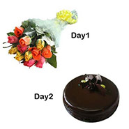 Day 1 12 mix roses Day 2 1/2 kg Chocolate Cake