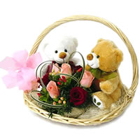 Two Teddies+6 roses in same basket