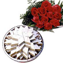 Dozen Red Roses with 1 Kg Kaju katli