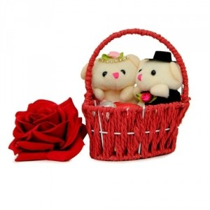 Two teddies (6 Inches each) in a small basket with 1 red rose