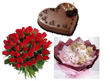 1 kg heart chocolate cake 24 red roses bouquet with a bouquet of 6 Teddies 6 inches each