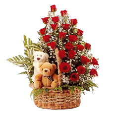 2 Teddies, 2 dozen red roses in same basket