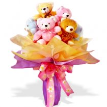5 Teddy bears bouquet each teddy 6 inches