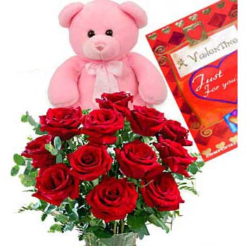 Teddy, Card and 12 Red Roses Basket