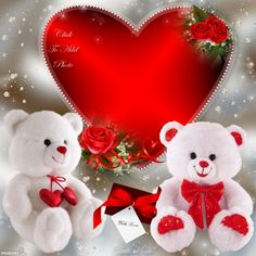 2 Teddies (6 inches each) with 8 to 10 inches Valentine heart
