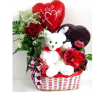 Heart choclate box with Teddy and valentine heart One red rose in same basket