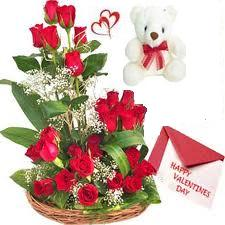 24 red roses basket, Teddy, Card