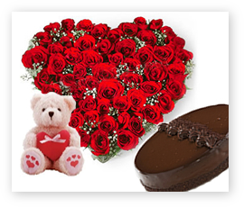 A Teddy, 1/2 kg Cake, 24 heart red roses