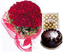 50 Red Roses + 16 Ferreo rocher Chocolates+1/2 kg chocolate Cake