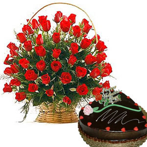 1/2 Kg Chocolate Cake and 24 Red Roses Basket