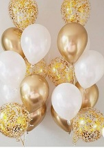 20 Helium Gas pre filled gold white Balloons tied to ribbons