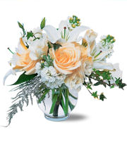 24 light colored assorted flowers in a vase.